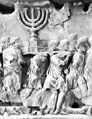 TEMPLE OF JERUSALEM: BIBLE ARCHAEOLOGY: The Arch of Titus in Rome with image of the Menorah from the Temple in Jerusalem