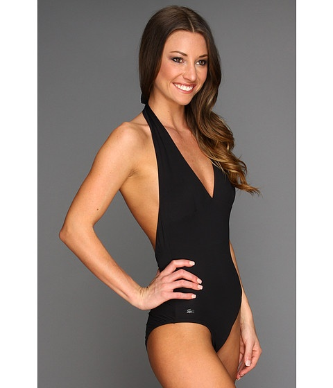 Lacoste Solid Halter Top Swimsuit Black - Zappos.com Free Shipping BOTH  Ways $82.50