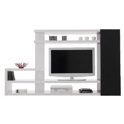 Meuble TV design blanc noir laqué - Meuble TV / Bibliothèque - Rangement - Mobilier | GiFi