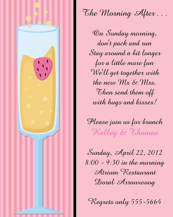 Mimosa After Wedding Brunch Invitations