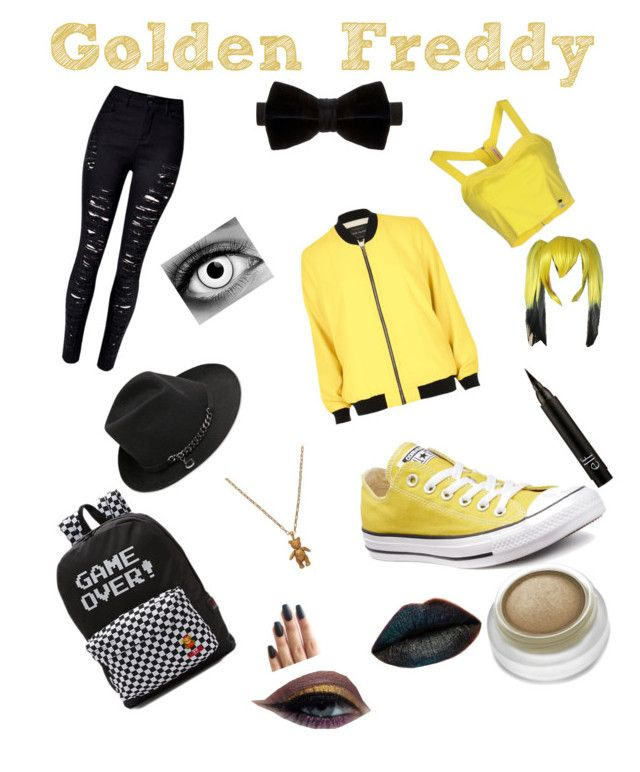 """""""Golden Freddy Inspired Outfit"""" by just-a-friendly-ghost ❤ liked on Polyvore featuring Fornarina, STELLA McCARTNEY, Duchamp, WithChic, River Island, Mirabelle, Converse and Vans"""