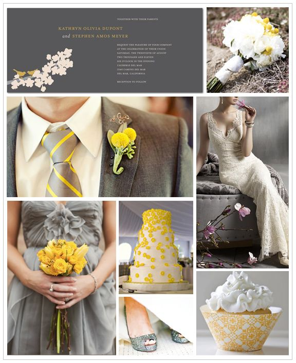 Gray and Canary Yellow Inspiration Board #weddings