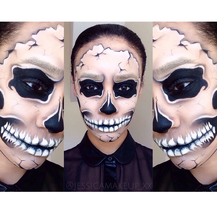 skull makeup skull facepaint halloween skull mehron paradise aq jessicaloves_x - Halloween Skull Face Paint Ideas