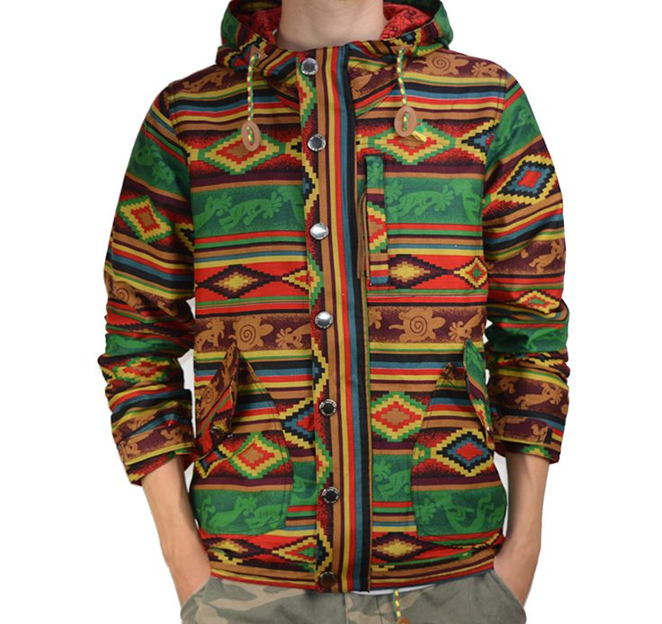 vans off the wall ethnic style cotton canvas windbreaker on off the wall id=36896