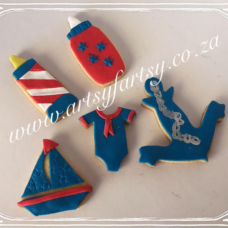 Nautical Baby Shower Sugar Cookies #nauticalbabyshowersugarcookies