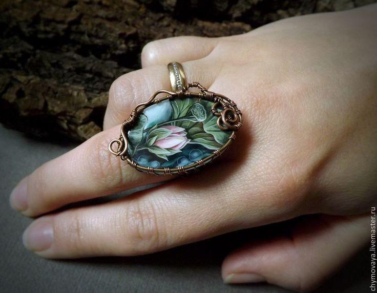"""Кольцо """"Бутон лотоса"""" - разноцветный,кольцо с росписью,кольцо с перламутром"""
