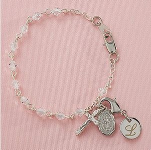 Baby personalized gifts 64 pinterest baby rosary personalized bracelet negle Image collections