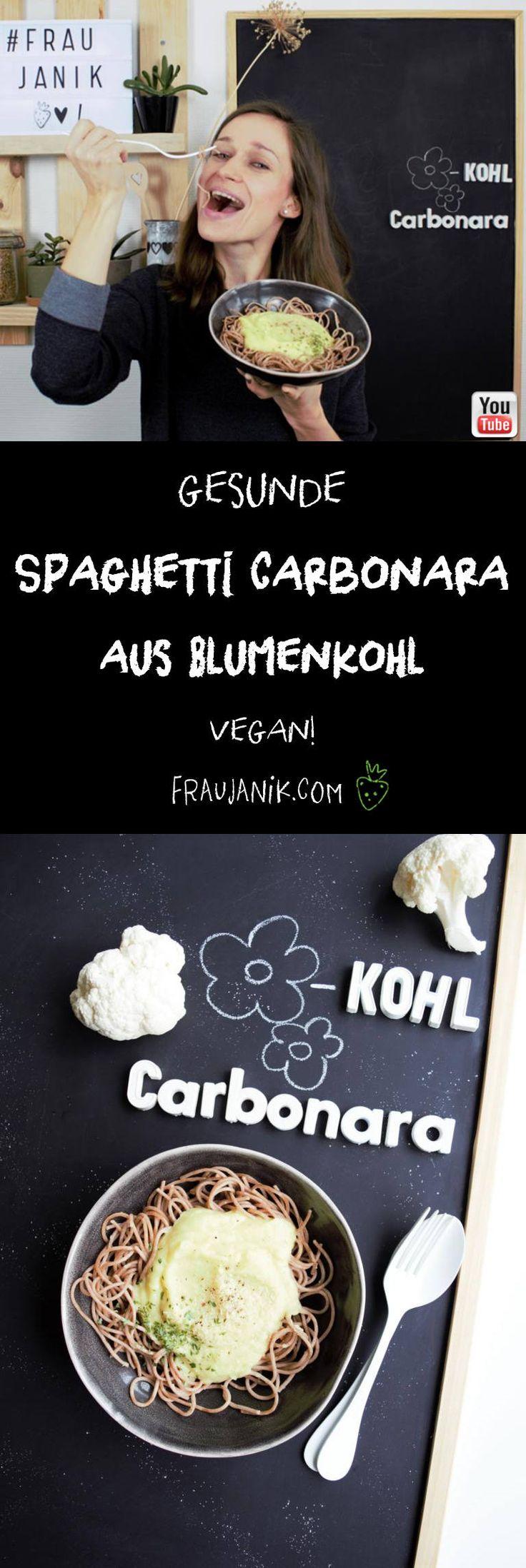 Spaghetti Carbonara aus Blumenkohl   vegan - ohne Eier, Sahne & Butter... Carbonara Sauce mal anders und zwar richtig gesund!!! #vegan #gesundkochen #fraujanik #blumenkohl #carbonara #spaghetticarbonara #pasta #carbonarasauce #hefeflocken #spaghetti #vegetarisch