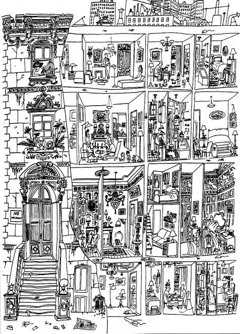 I think this is called 'Rooming House' by Saul Steinberg. Discussed in Georges Perec's 'Species of Spaces'. Perec says he saw this drawing in 'The Art of Living' in 1952