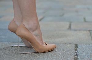 Maison Martin Margiela H M Beige Wedge Heel Leather Court Shoes