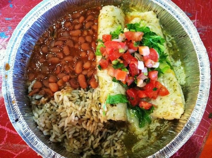 Mild Chicken Enchiladas with pinto beans and cilantro lime rice