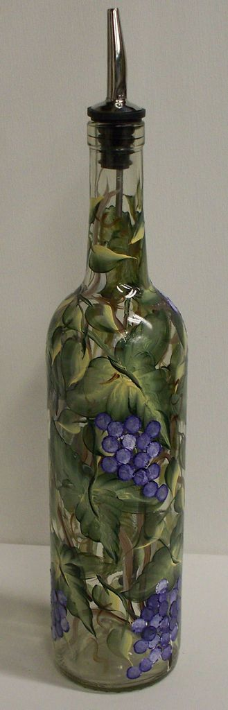 DIY: Turn a wine bottle into an oil bottle with enamel paint. So pretty- these would make lovely gifts !