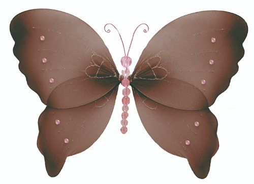 """Best price on Hanging Butterfly 18"""" X-Large Brown Pink Crystal Nylon Butterflies Decorations Decorate Baby Nursery Bedroom, Girls Room Ceiling Wall Decor, Wedding, Birthday Party, Baby Shower, Bathroom Child 3D Art See details here: http://babiesluxurystore.com/product/hanging-butterfly-18-x-large-brown-pink-crystal-nylon-butterflies-decorations-decorate-baby-nursery-bedroom-girls-room-ceiling-wall-decor-wedding-birthday-party-baby-shower-bathroom-child-3d-art/ Truly the best deal for the…"""