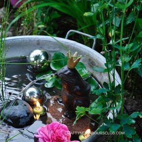 DIY für einen romantischen Mini-Teich . Schnell gemacht und wunderschön im Garten oder auf dem Balkon