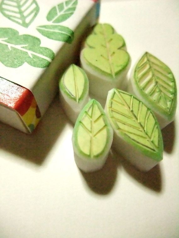 stamp design idea - hand carved leaf stamps -- the kids would have fun stamping leaves on a hand drawn tree