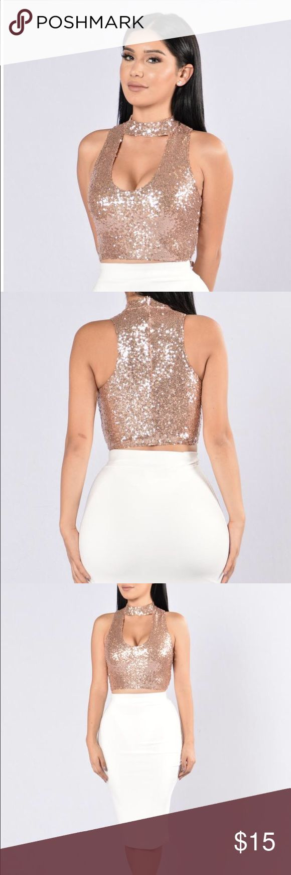 Glitter Top Such a beautiful top, Perfect for New Years or special events. Size large. 🚫price is firm🚫.         Tags: topshop zara holidays Christmas party boohoo missguided Fashion Nova Tops Crop Tops