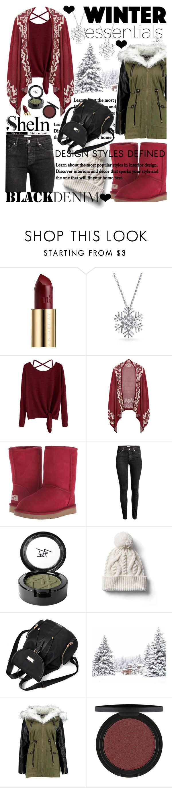 """Burgundy Drop Shoulder T-Shirt with SheIn!"" by anin-kutak ❤ liked on Polyvore featuring Urban Decay, Bling Jewelry, UGG Australia, H&M, Beauty Is Life and Gap"