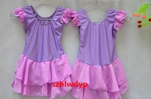 New Girls Ballet Tutu Costume Kids Purple Party Leotard Skirt Dance Dress SZ 5-8 #huali