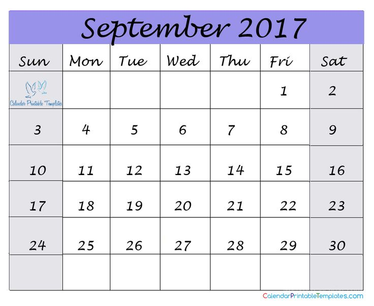 16 best September 2017 Calendar images on Pinterest Printable - blank calendar pdf