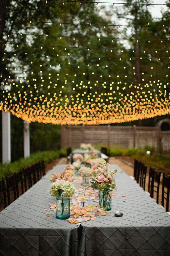 garden wedding decor with lights