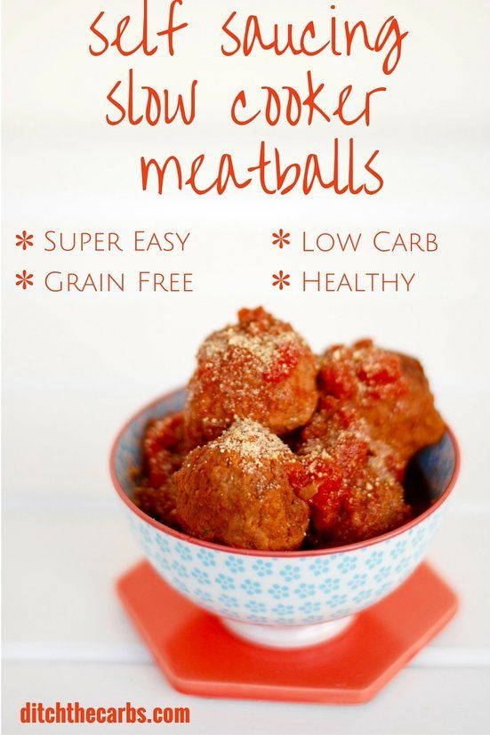 You have got to try this amazing and easy healthy nutritious dinner - Self saucing meatballs in the slow cooker. Serve with zoodles makes this low carb, grain free, gluten free and delicious. #lowcarb #lchf |ditchthecarbs.com