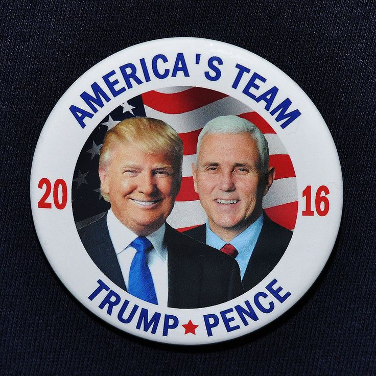 Donald Trump for President 2016 Mike Pence VP Photo Button Pin