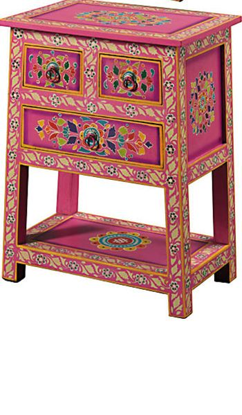 Handpainted Indian Cabinet 3 Drawers Pink Www Namaste Uk Furniture In 2018 Pinterest Painted And
