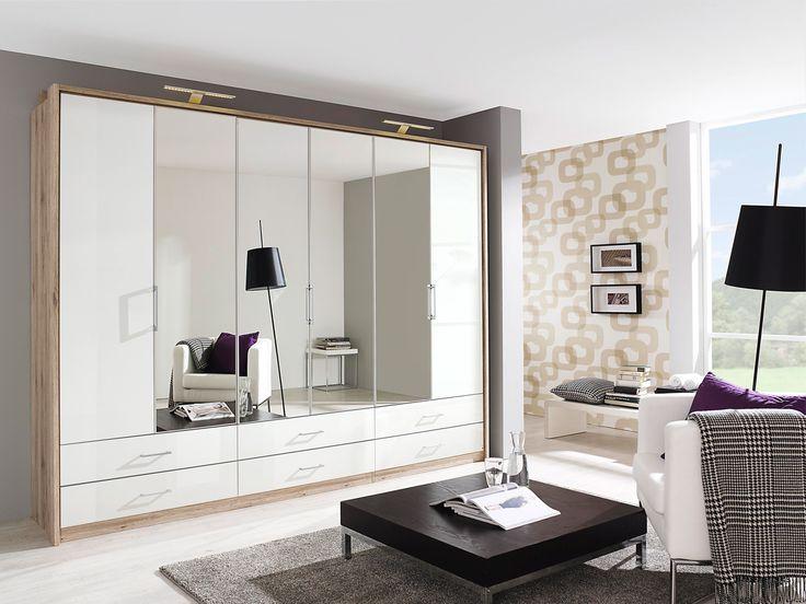 Beautiful LEON Faltt renschrank Kleiderschrank mit Spiegel Eiche sandgrau