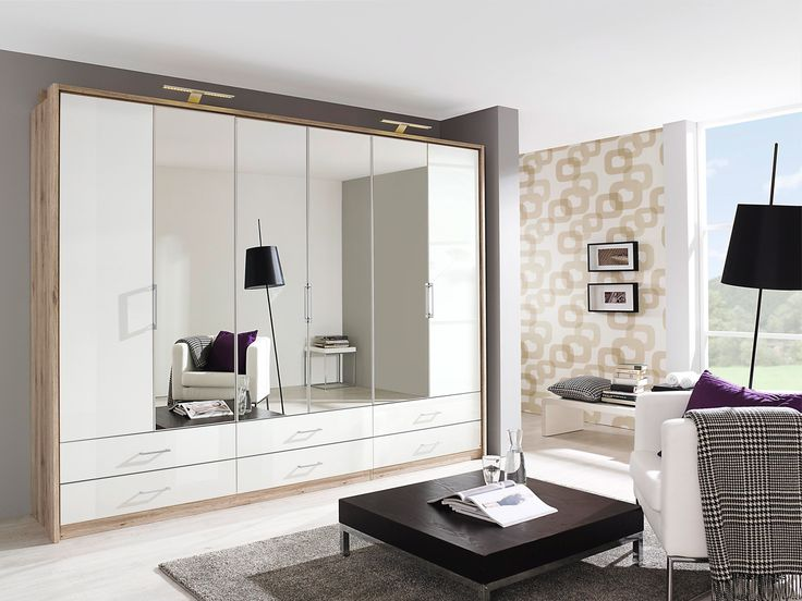 LEON Falttürenschrank / Kleiderschrank mit Spiegel Eiche,sandgrau