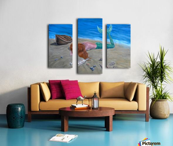 Art for office, mermaid, seascape, fantasy, scene, mythical, legendary, magical, theme, aqua, blue, painting, artwork, Triptych, 3 split,  stretched, canvas, multi panel, prints