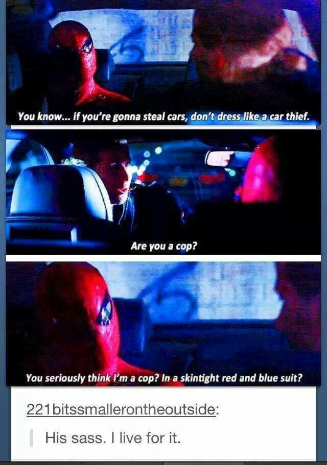This is why I want to see Spiderman in the next Avengers Movie! I want to see him and Tony Stark sass each other!