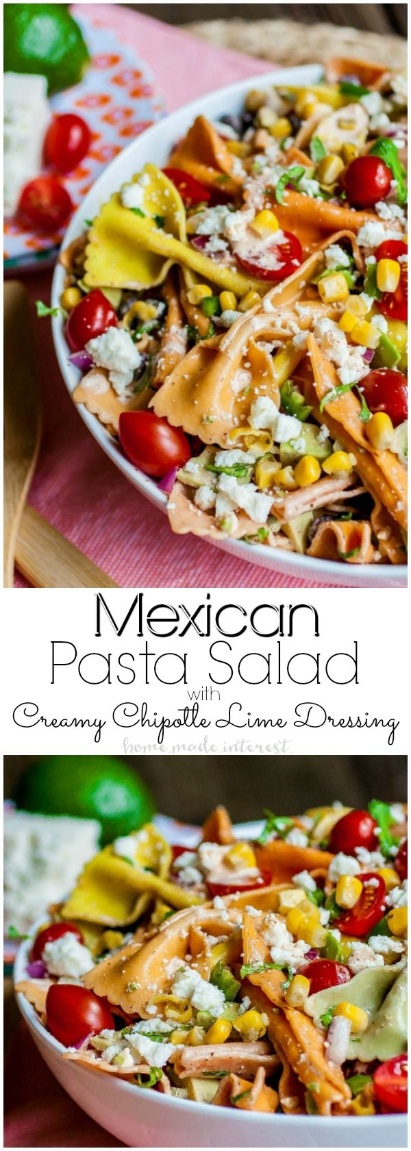 Mexican Pasta Salad with Creamy Chipotle Lime Dressing