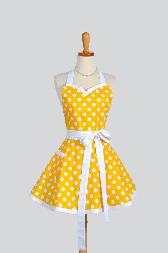 sweetheart retro apron handmade womens full kitchen apron in yellow and white large polka dot - Cooking Aprons