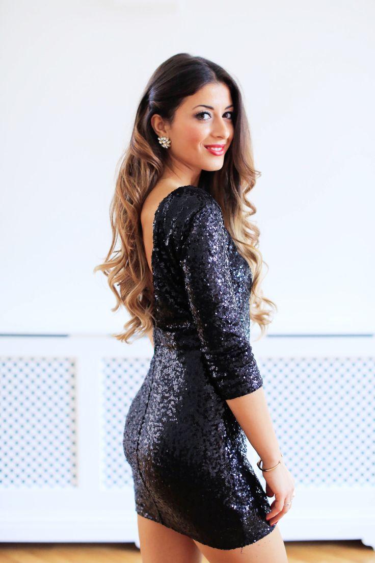 Black Sequins Dress - Mimi Ikonn