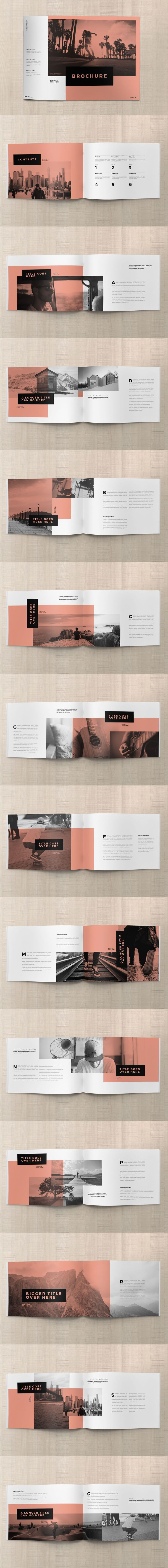 Minimal White Simple Brochure Template InDesign INDD - 28 Custom Pages