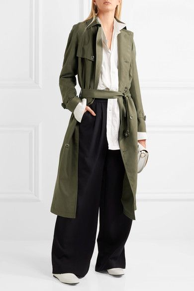 Joseph - Parachute Washed-silk Trench Coat - Army green - FR44