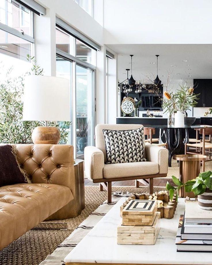 Home Decor (@innerdecor) OpenConcept #Livingroom #Camel #Beige #Brown #