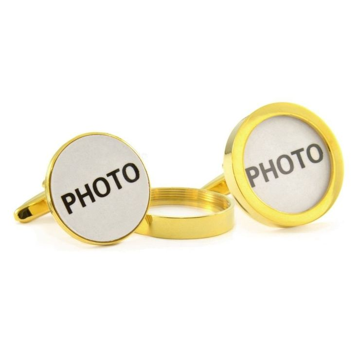 PERSONALIZED PHOTO FRAME CUFFLINKS $29.99  *** Great way to personalize a gift using an actual picture by simply unscrewing the top and insert photo . Brand NEW comes in Gold tone.