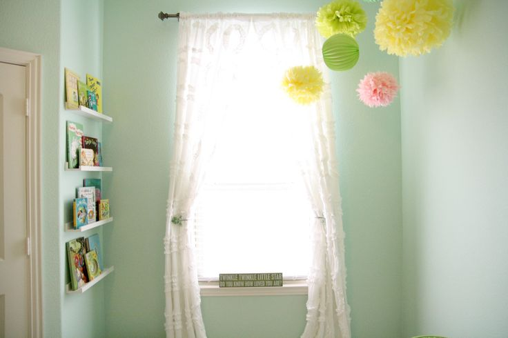 Girly Nest-Themed Nursery - love the bright tissue poms!: Nests Window, Ikea Spices Racks, Photos Img 6605 Jpg, Nurseries Wall Colors, Projects Nurseries, Baby Rooms, Spices Racks Bookshelves, Girly Nests, Ruffles Curtains
