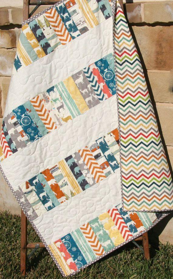 Modern Baby Quilt, Blanket, Nursery Bedding, Birch Organic Fabrics, Crib Quilt Decor Trees Elk Deer Woodland Low Volume Chevron Forest Coral by SunnysideDesigns2