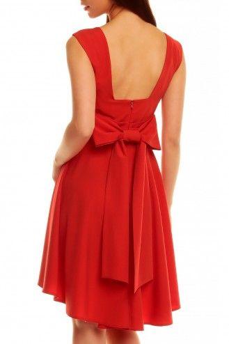 Czerwona sukienka z asymetrycznym dołem i kokardą KM144