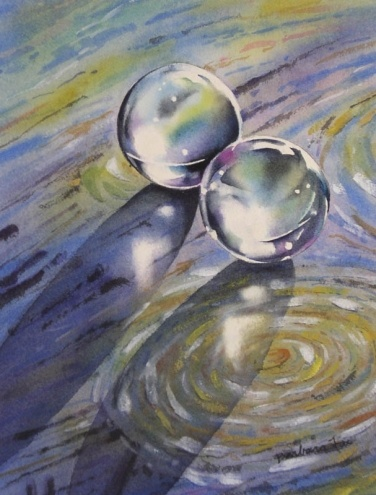 CRUISING ON A STARRY NIGHT watercolor still life painting, painting by artist Barbara Fox