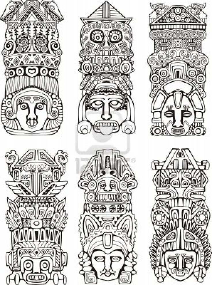 how to draw aztec mask