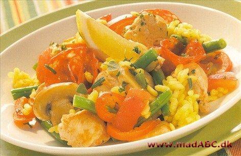 Paella med svampe og chorizo