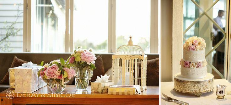 Pretty vintage themed wedding reception. Two tier wedding cake, birdcage and gift table. Wedding reception styling, ideas and inspiration.  Reception Venue: Mosman's Restaurant  Photography by DeRay & Simcoe