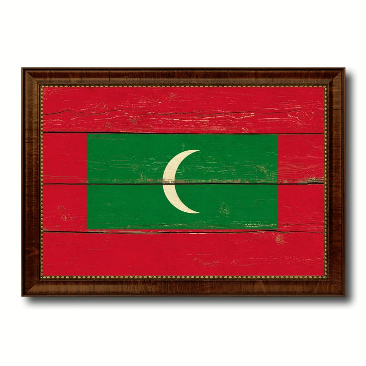 Maldives Country Flag Vintage Canvas Print with Brown Picture Frame Home Decor Gifts Wall Art Decoration Artwork