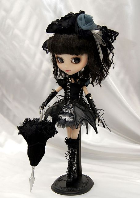 Cute dressed up black Blythe doll