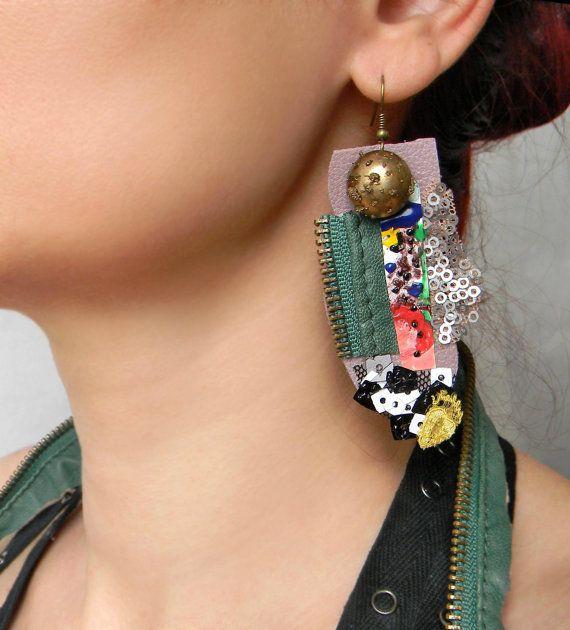 Whimsical Leather Earrings Steampunk Huge Earrings by Elyseeart