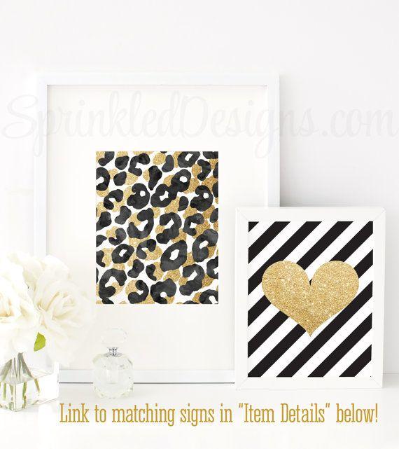 Abstract Art Print - Black Gold Glitter Watercolor Leopard Print, Home Decor, Girls Room Decor, Girl Nursery Gallery Wall Art Printable by SprinkledDesigns.com