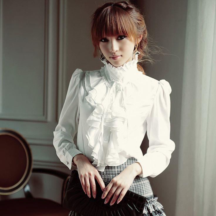 autumn Vintage Long Sleeve Stand Collar Flounce women Blouse elegant Fashion Ruffled Chiffon solid color ladies Shirts